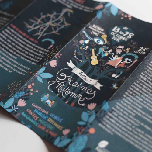 Gwendoline Lefeuvre ⎮ Graphiste textile & illustratrice ⎮ Projet affiches & Flyers Graines d'automne à Nantes