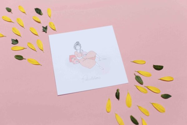 Gwendoline Lefeuvre Illustration & design textile à Nantes ⎮ carte naissance fille