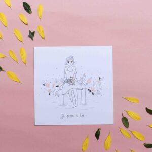 Gwendoline Lefeuvre Illustration & design textile à Nantes ⎮ carte Je pense à toi