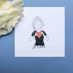 Gwendoline Lefeuvre Illustration & design textile à Nantes ⎮ carte Je t'aime