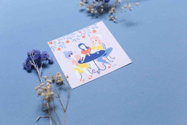 Gwendoline Lefeuvre Illustration & design textile à Nantes ⎮ carte Terrasse entre amies